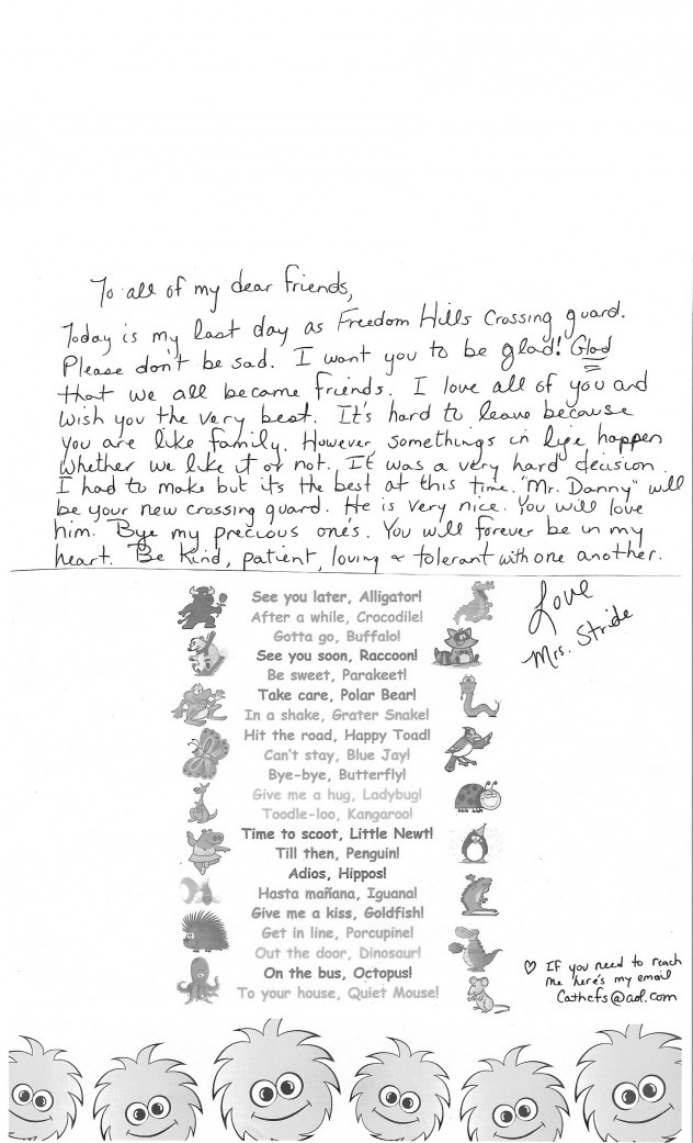 Ms. Stride's Farewell Letter